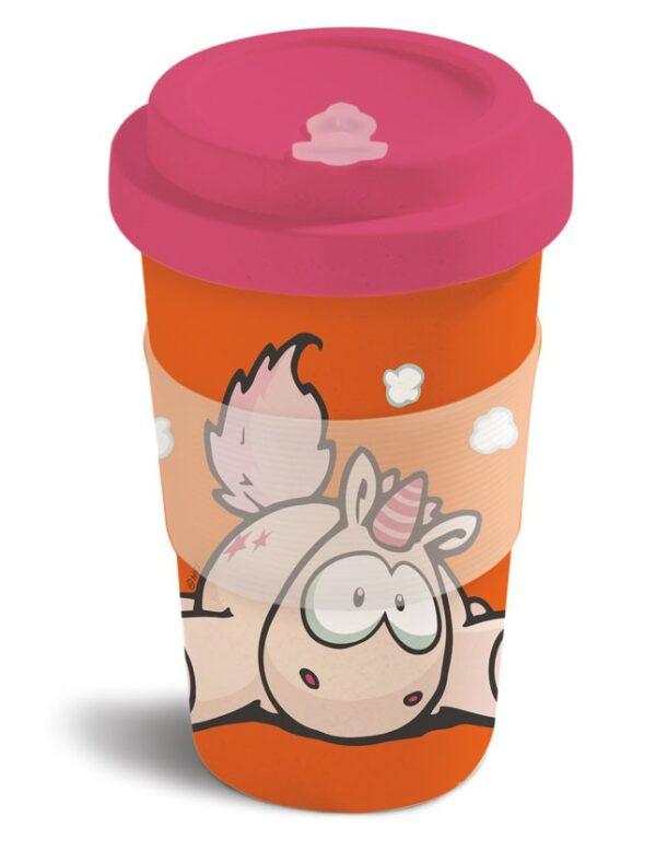 Бамбукова чаша с капак Еднорогът Theodor, оранжева - Детски чаши - За детето - Детски прибори за хранене