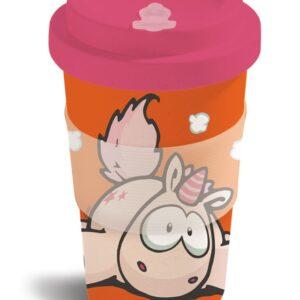 Бамбукова чаша с капак Еднорогът Theodor, оранжево-червена - Детски чаши - За детето - Детски прибори за хранене