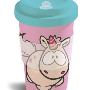 Бамбукова чаша с капак Еднорогът Theodor, розова - Детски чаши - За детето - Детски прибори за хранене