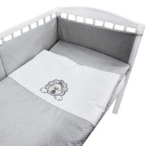 Бебешки спален комплект от 3 части - лъвче бял - За бебето - Аксесоари за детска стая - Спални комплекти бельо