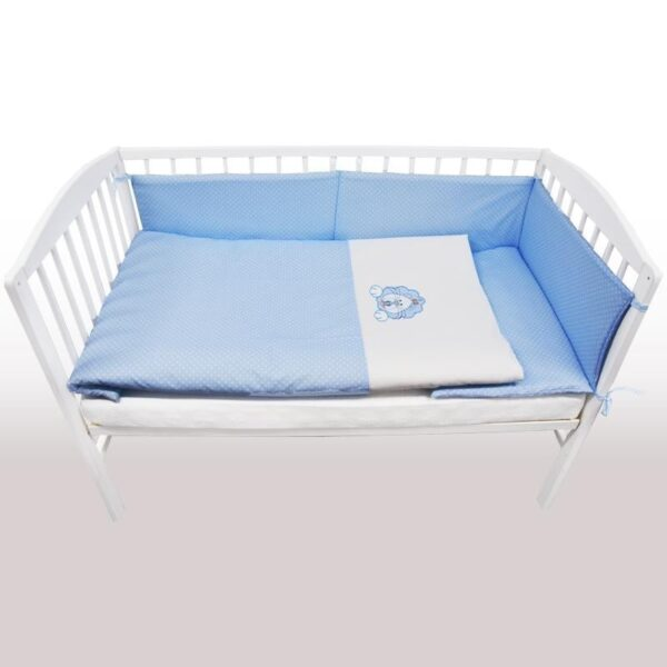 Бебешки спален комплект от 3 части - лъвче син - За бебето - Аксесоари за детска стая - Спални комплекти бельо