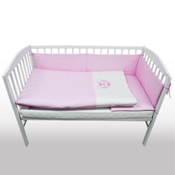 Бебешки спален комплект от 3 части - лъвче светло розов - За бебето - Аксесоари за детска стая - Спални комплекти бельо