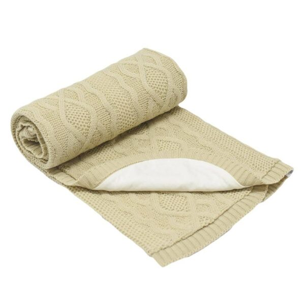Бебешко одеяло плетено - ромбоиди бежово - За бебето - Аксесоари за детска стая - Завивки / Одеяла