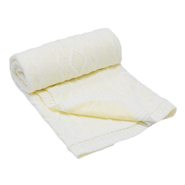 Бебешко одеяло плетено - ромбоиди бяло - За бебето - Аксесоари за детска стая - Завивки / Одеяла