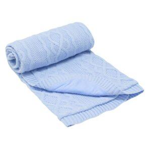 Бебешко одеяло плетено - ромбоиди синьо - За бебето - Аксесоари за детска стая - Завивки / Одеяла