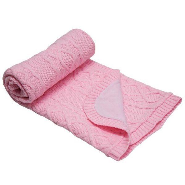 Бебешко одеяло плетено - ромбоиди светло розово - За бебето - Аксесоари за детска стая - Завивки / Одеяла