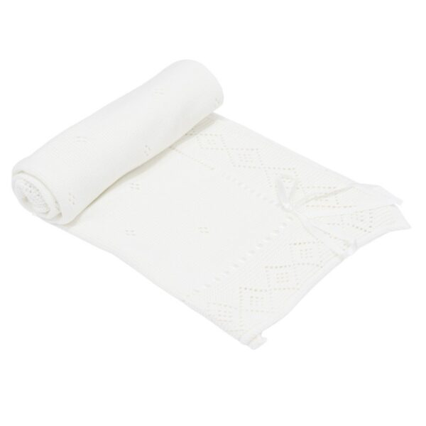 Бебешко плетено одеяло - панделка - За бебето - Аксесоари за детска стая - Завивки / Одеяла