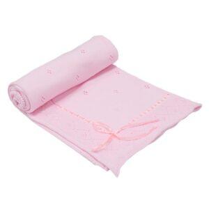 Бебешко плетено одеяло - панделка, розово - За бебето - Аксесоари за детска стая - Завивки / Одеяла