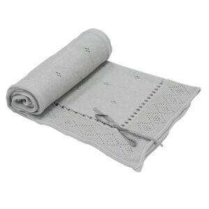 Бебешко плетено одеяло - панделка, сиво - За бебето - Аксесоари за детска стая - Завивки / Одеяла