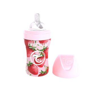 Бебешко шише Twistshake 260 мл от неръждаема стомана - Розова ягода - За бебето - Хранене - Бебешки шишета и биберони