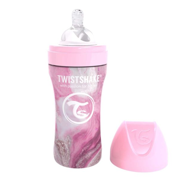 Бебешко шише Twistshake 330 мл от неръждаема стомана - Мраморно розово - За бебето - Хранене - Бебешки шишета и биберони
