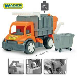 Боклукчийски детски камион - оранжев - Детски играчки - Детски камиончета и коли