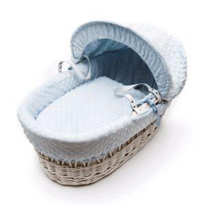 Бяло плетено кошче за бебе със син спален комплект - За бебето - Плетени кошчета за бебе