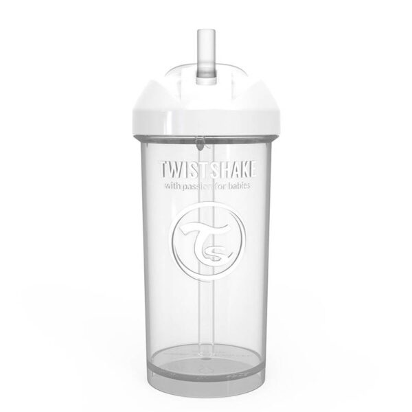 Чаша със сламка Twistshake - 360 ml 12+ месеца бяла - За бебето - Хранене - Детски и бебешки чаши