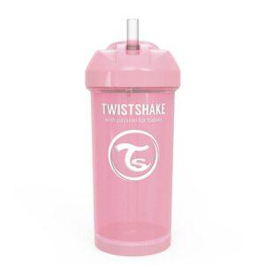 Чаша със сламка Twistshake - 360 ml 12+ месеца розова - За бебето - Хранене - Детски и бебешки чаши