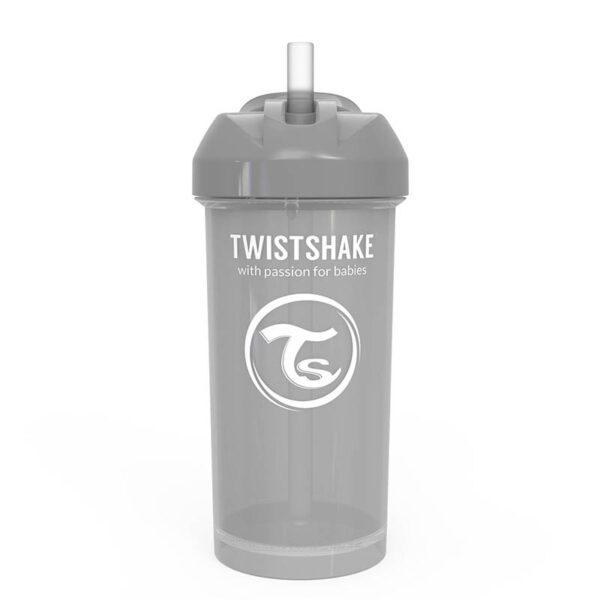 Чаша със сламка Twistshake - 360 ml 12+ месеца сива - За бебето - Хранене - Детски и бебешки чаши