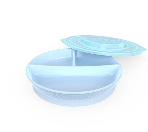 Чиния с разделения Twistshake 6+ месеца синя - За бебето - Хранене - Прибори за хранене на бебета