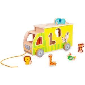 Дървен детски сортер - камион с животни - Детски играчки - Образователни играчки - Дървени играчки
