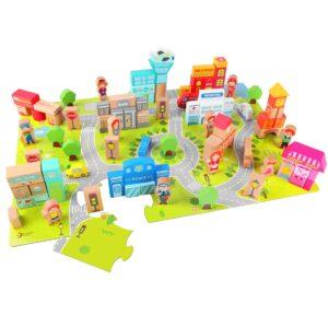 Дървен конструктор Градски център - Детски играчки - Образователни играчки - Дървени играчки
