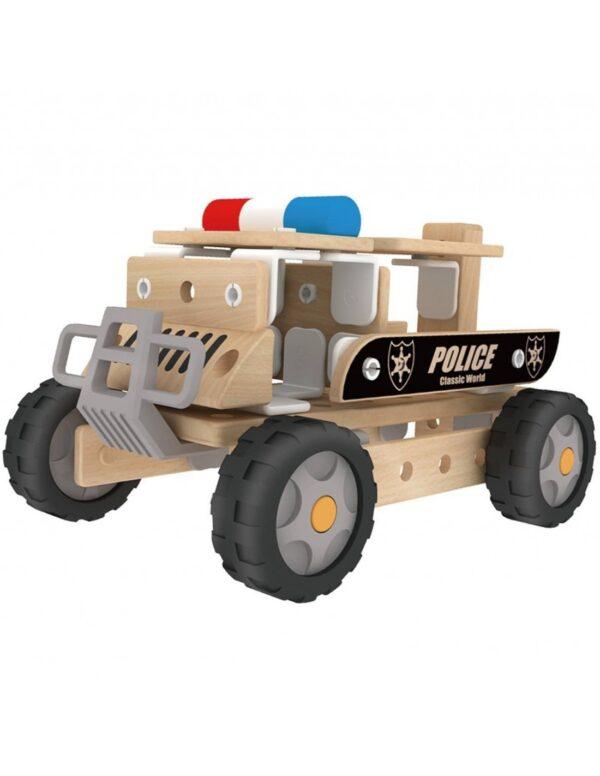Дървен конструктор - Полицейски автомобил - Детски играчки - Конструктори - Дървени играчки