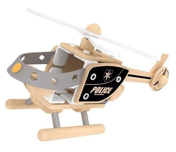 Дървен конструктор - полицейски хеликоптер - Детски играчки - Конструктори - Дървени играчки