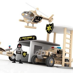 Дървен конструктор - полицейски участък - Детски играчки - Конструктори - Дървени играчки