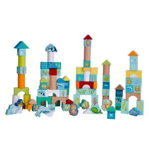 Дървен конструктор с блокчета Морско дъно - Детски играчки - Образователни играчки - Дървени играчки