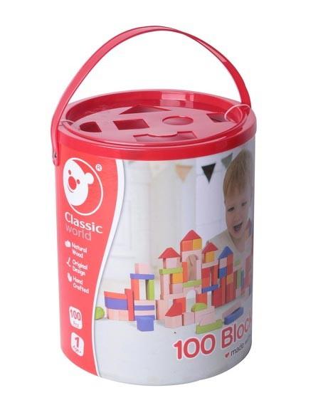 Дървен конструктор с кубчета - 100 бр. - Детски играчки - Конструктори - Дървени играчки