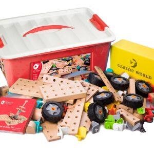 Дървен конструктор за деца - 218 части - Детски играчки - Конструктори - Дървени играчки