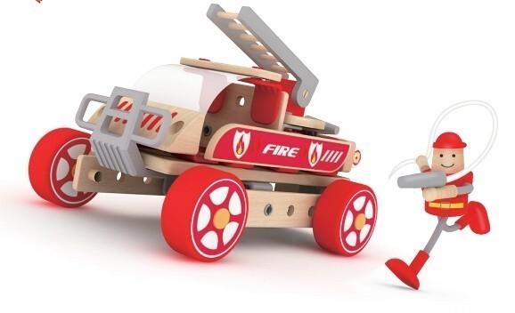 Дървен конструктор за деца - Пожарникарска кола - Детски играчки - Конструктори - Дървени играчки