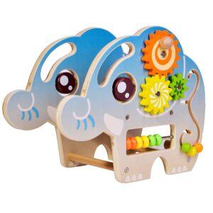 Дървен костер със занимателни игри - слонче - Детски играчки - Образователни играчки - Дървени играчки