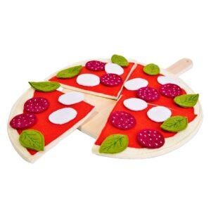 Дървен кухненски комплект - Пица с дъска за рязане - Детски играчки - Кухни за игра - комплекти и консумативи - Дървени играчки