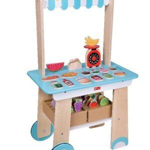 Дървен магазин за хранителни стоки - Детски играчки - Къщи за игра, маси и столове - Дървени играчки