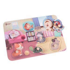 Дървен пъзел - домашни любимци - Детски играчки - Пъзели - Дървени играчки - Пъзели