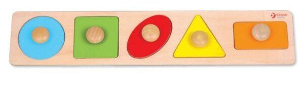 Дървен пъзел - геометрични фигури - Детски играчки - Пъзели - Дървени играчки - Пъзели