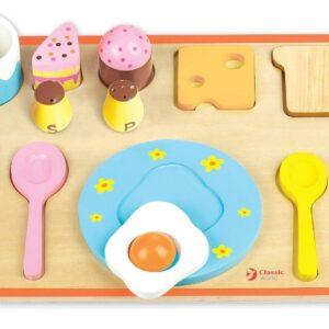 Дървен пъзел - подреждане на закуска - Детски играчки - Пъзели - Дървени играчки - Пъзели