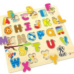 Дървен пъзел с английската азбука - Детски играчки - Пъзели - Дървени играчки - Пъзели