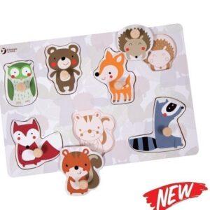 Дървен пъзел с горски животни - Детски играчки - Пъзели - Дървени играчки - Пъзели