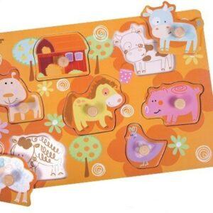 Дървен пъзел - селскостопански животни - Детски играчки - Пъзели - Дървени играчки - Пъзели