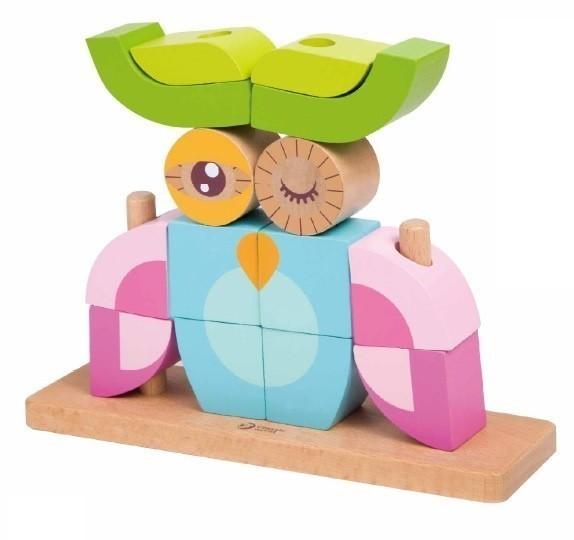 Дървен пъзел за деца от кубчета - бухал - Детски играчки - Пъзели - Дървени играчки - Пъзели