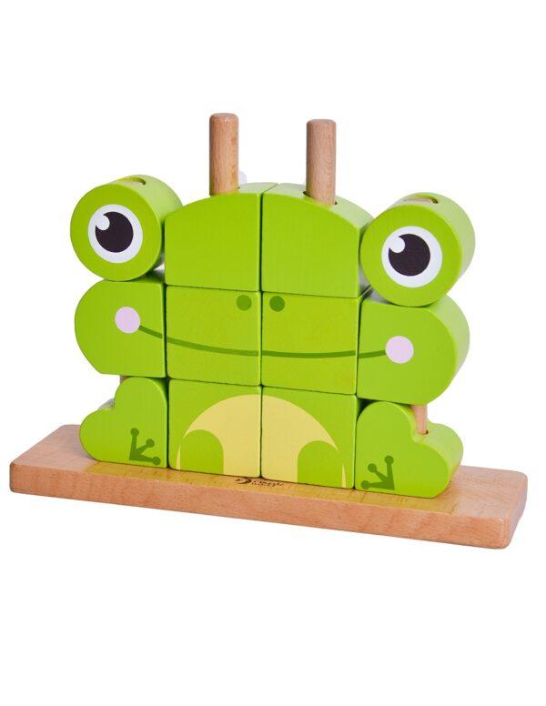 Дървен пъзел за деца от кубчета - Жабче - Детски играчки - Пъзели - Дървени играчки - Пъзели