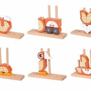 Дървен пъзел за деца от кубчета - Лисица - Детски играчки - Пъзели - Дървени играчки - Пъзели