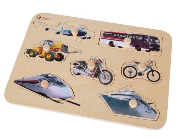 Дървен пъзел за деца - превозни средства - Детски играчки - Пъзели - Дървени играчки - Пъзели