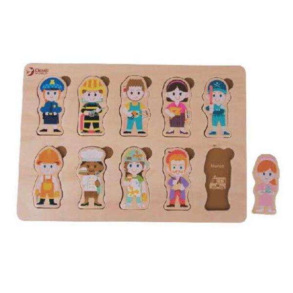 Дървен пъзел за деца - професии - Детски играчки - Пъзели - Дървени играчки - Пъзели
