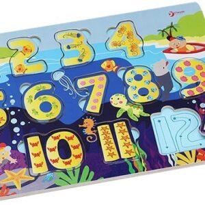 Дървен пъзел за деца с числа - Детски играчки - Пъзели - Дървени играчки - Пъзели