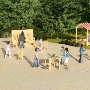 Дървен силоз за игра с пясък - Мебели и играчки за детски градини и центрове - Комплекти за игра с пясък