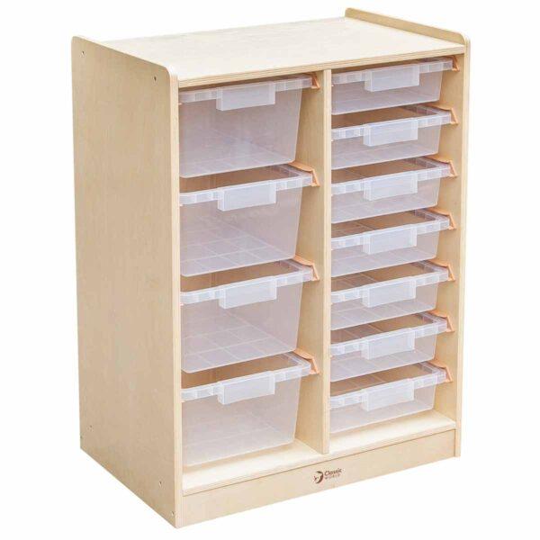 Дървен скрин с кутии за съхранение на играчки - Мебели и играчки за детски градини и центрове - Мебели за детски градини и центрове
