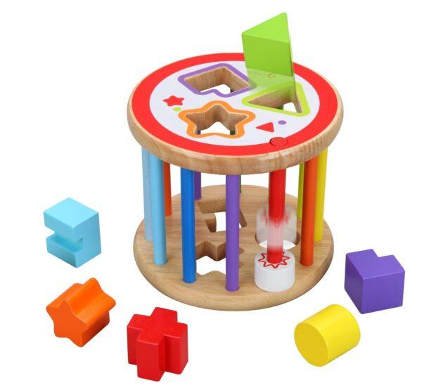 Дървен сортер с 6 различни форми - Детски играчки - Образователни играчки - Дървени играчки