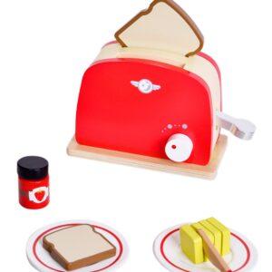Дървен тостер за игра, червен - Детски играчки - Образователни играчки - Дървени играчки