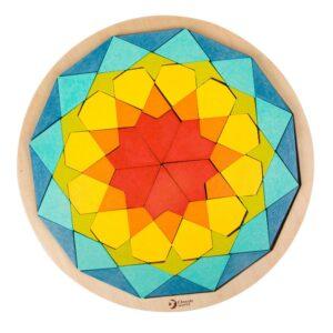 Дървен цветен пъзел с блокчета Мандала - Детски играчки - Бебешки играчки - Дървени играчки